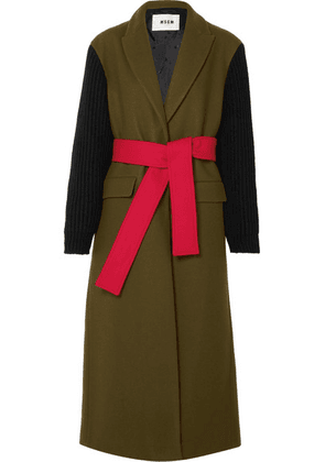 MSGM - Wool-blend Felt And Ribbed-knit Coat - Army green