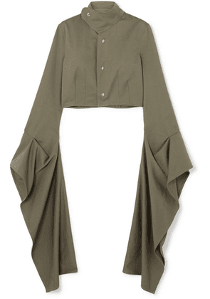 Loewe - Cropped Draped Cotton-twill Blouse - Army green