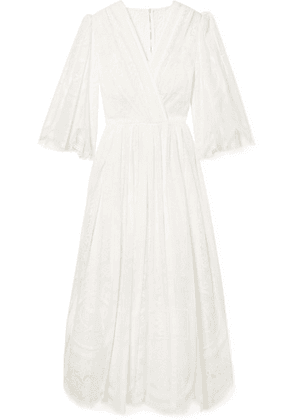 Dolce & Gabbana - Wrap-effect Cotton-blend Lace Midi Dress - White