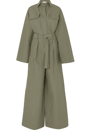 Brunello Cucinelli - Belted Bead-embellished Crinkled Cotton-blend Jumpsuit - Green