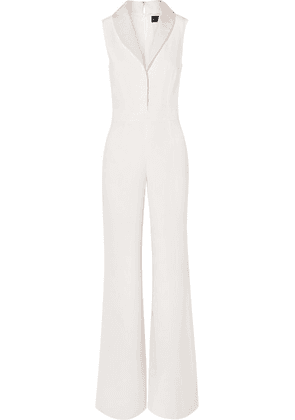 Brandon Maxwell - Faille-trimmed Silk Crepe De Chine Jumpsuit - Ivory