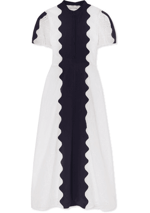 Valentino - Paneled Broderie Anglaise Cotton-blend And Silk-crepe Midi Dress - White