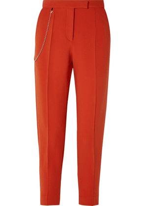Bottega Veneta - Chain-embellished Wool-blend Tapered Pants - Orange