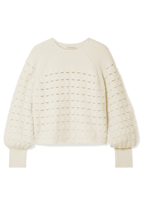 By Malene Birger - Open-knit Wool-blend Sweater - Cream