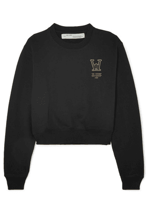 Off-White - Cropped Printed Cotton-terry Sweatshirt - Black