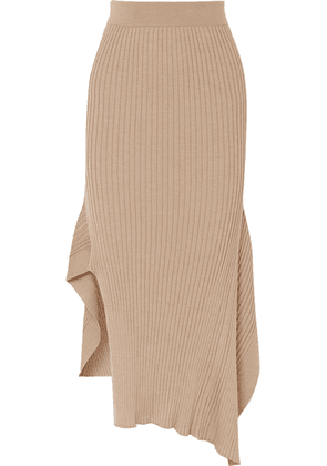 Stella McCartney - Asymmetric Ribbed Wool And Silk-blend Midi Skirt - Camel