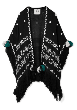 Figue - Corazon Fringed Embroidered Wool Wrap - Black