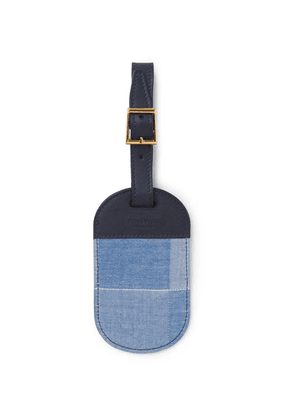 Foundwell - Checked Cotton And Leather Luggage Tag - Blue