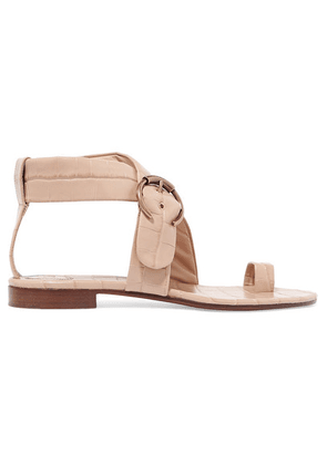 Chloé - Roy Buckled Croc-effect Leather Sandals - Neutral