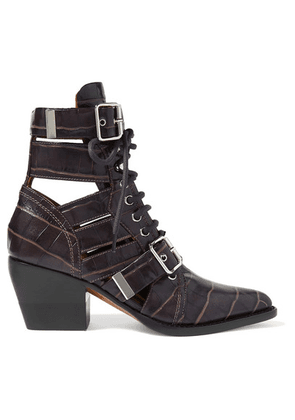 Chloé - Rylee Cutout Croc-effect Leather Ankle Boots - Chocolate