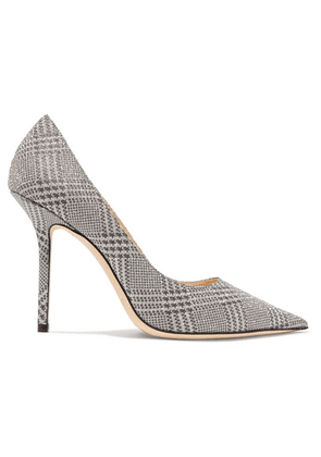 Jimmy Choo - Love 100 Glittered Checked Leather Pumps - Silver