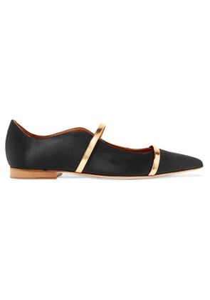 Malone Souliers - Maureen Metallic Leather-trimmed Satin Point-toe Flats - Black