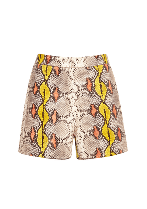 Rochas Snake-Effect Leather Shorts