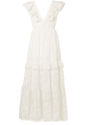 Rachel Zoe - Violet Ruffled Fil Coupé Cotton And Silk-blend Gown - Off-white