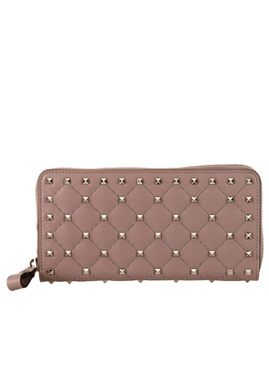 Wallet Rockstud Continental Spike Wallet With Zip Closure And Metal Studs