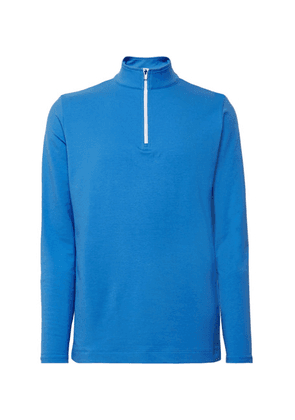 Dunhill Links - Baker Street Stretch Cotton And Modal-blend Half-zip Sweater - Blue
