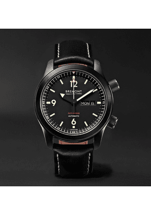 Bremont - U-2/dlc Automatic 43mm Stainless Steel And Leather Watch - Black