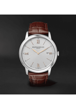 Baume & Mercier - Classima Quartz 42mm Stainless Steel And Croc-effect Leather Watch - White