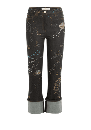 Valentino Embroidered and Embellished Cropped Jeans