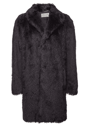 Saint Laurent Faux Fur Coat with Mohair and Wool