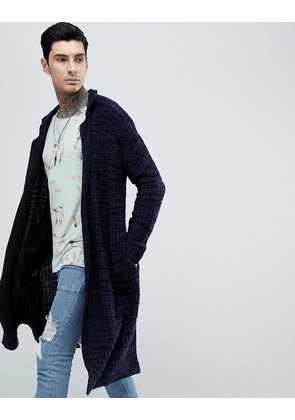 ASOS DESIGN Knitted Duster Jacket In Navy Slub - Navy