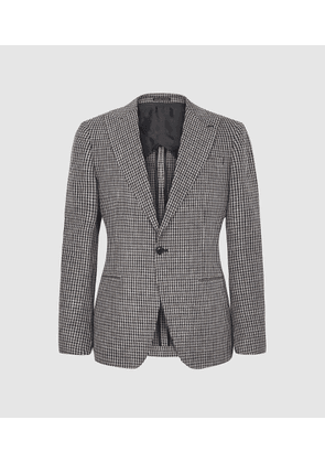 Reiss Princeton - Dogtooth Checked Blazer in Brown, Mens, Size 34