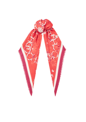 KENNA Cashmere and Modal Pashmina in Chilli with a Seasonal Floral Print