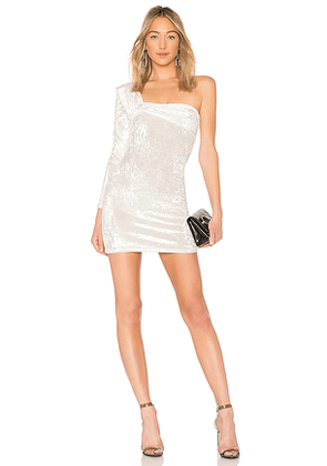 Baja East One Sleeve Contour Mini Dress in White. Size 00,2.