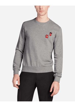 Dolce & Gabbana Sweaters - COTTON SWEATSHIRT WITH PATCHES OF THE DESIGNERS GRAY