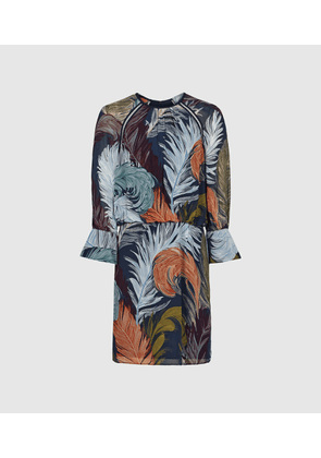 Reiss Namina - Feather Printed Dress in Multi, Womens, Size 4