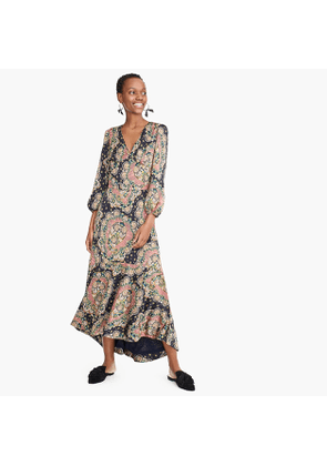 52117020db Point Sur long-sleeve paisley dress in satin-back crepe