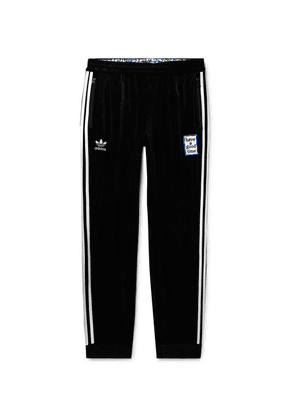 adidas Consortium - + Have A Good Time Tapered Logo-embroidered Striped Velour Sweatpants - Black