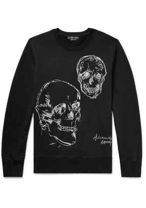 Alexander McQueen - Embroidered Loopback Cotton-jersey Sweatshirt - Black