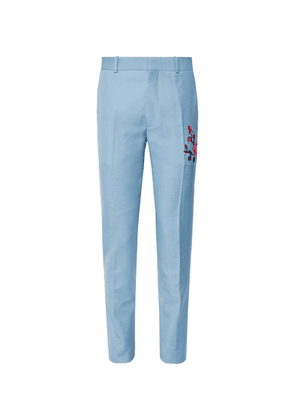 Alexander McQueen - Slim-fit Embroidered Wool And Mohair-blend Trousers - Light blue