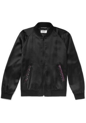 Saint Laurent - Embellished Satin Bomber Jacket - Black