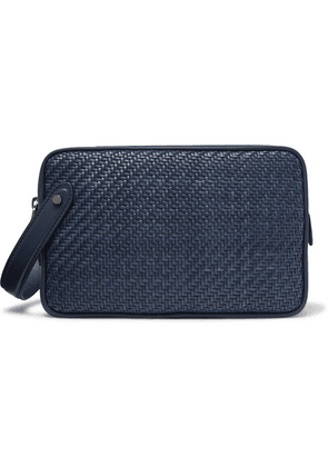 Ermenegildo Zegna - Pelle Tessuta Leather Wash Bag - Blue