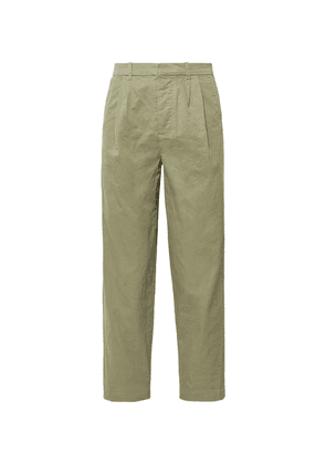 Fanmail - Cropped Pleated Organic Cotton Trousers - Sage green