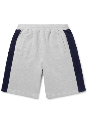 Fanmail - Striped Organic Cotton-fleece Shorts - Gray