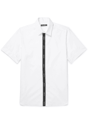 Dolce & Gabbana - Grosgrain-trimmed Cotton-blend Poplin Shirt - White