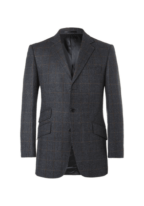 Cordings - Checked Herringbone Wool And Cashmere-blend Blazer - Navy