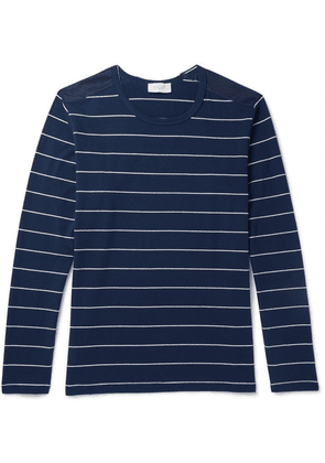 Enlist - Shell-trimmed Striped Cotton-jersey T-shirt - Navy