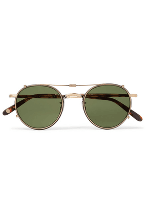 Garrett Leight California Optical - Wilson 49 Round-frame Acetate And Gold-tone Optical Glasses With Clip-on Uv Lenses - Gold
