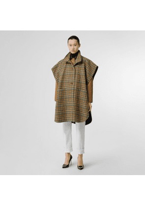 Burberry D-ring Detail Check Wool Cashmere Cape, Yellow