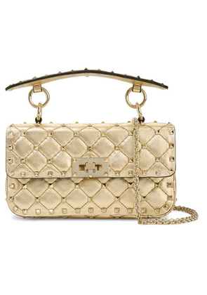 Valentino - Valentino Garavani The Rockstud Spike Small Quilted Metallic Leather Shoulder Bag - Gold