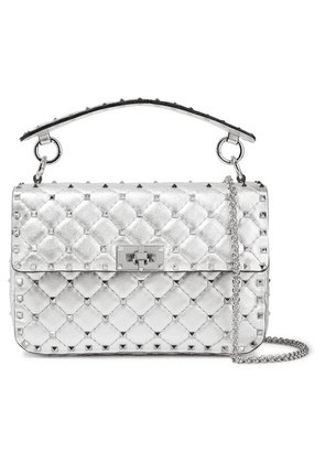 Valentino - Valentino Garavani The Rockstud Spike Medium Quilted Metallic Leather Shoulder Bag - Silver