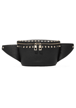 Valentino - Valentino Garavani The Rockstud Textured-leather Belt Bag - Black