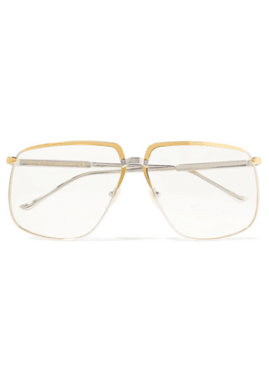 Gucci - Gold And Silver-tone Square-frame Optical Glasses - Clear