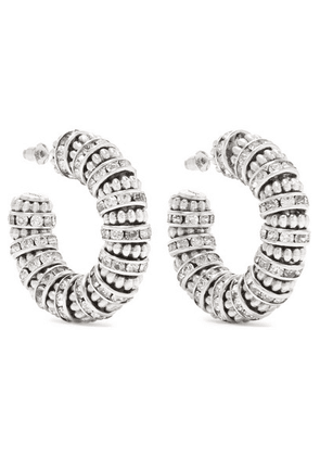 Saint Laurent - Silver-tone Crystal Hoop Earrings - one size