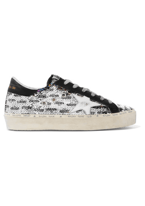 Golden Goose Deluxe Brand - Hi Star Distressed Sequined Leather Sneakers - Black