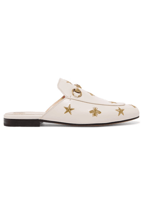 Gucci - Princetown Horsebit-detailed Embroidered Leather Slippers - White